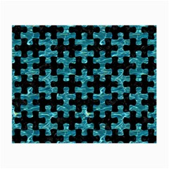 Puzzle1 Black Marble & Blue Green Water Small Glasses Cloth by trendistuff