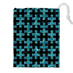 Puzzle1 Black Marble & Blue Green Water Drawstring Pouch (xxl) by trendistuff