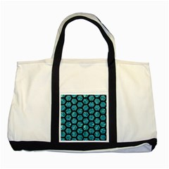 Hexagon2 Black Marble & Blue Green Water (r) Two Tone Tote Bag by trendistuff