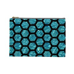 Hexagon2 Black Marble & Blue Green Water (r) Cosmetic Bag (large) by trendistuff