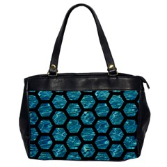 Hexagon2 Black Marble & Blue Green Water (r) Oversize Office Handbag by trendistuff