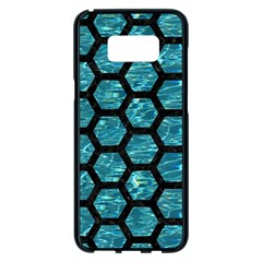 Hexagon2 Black Marble & Blue Green Water (r) Samsung Galaxy S8 Plus Black Seamless Case by trendistuff