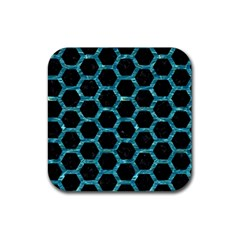 Hexagon2 Black Marble & Blue Green Water Rubber Square Coaster (4 Pack) by trendistuff