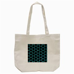 Hexagon2 Black Marble & Blue Green Water Tote Bag (cream) by trendistuff
