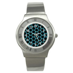 Hexagon2 Black Marble & Blue Green Water Stainless Steel Watch by trendistuff