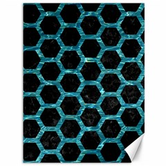 Hexagon2 Black Marble & Blue Green Water Canvas 36  X 48  by trendistuff