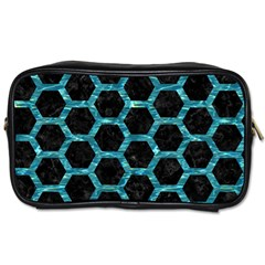 Hexagon2 Black Marble & Blue Green Water Toiletries Bag (one Side) by trendistuff