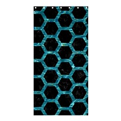 Hexagon2 Black Marble & Blue Green Water Shower Curtain 36  X 72  (stall) by trendistuff