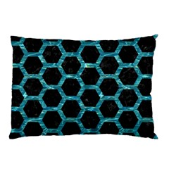 Hexagon2 Black Marble & Blue Green Water Pillow Case (two Sides) by trendistuff