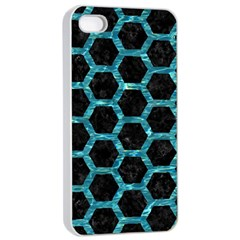 Hexagon2 Black Marble & Blue Green Water Apple Iphone 4/4s Seamless Case (white) by trendistuff