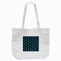 Hexagon2 Black Marble & Blue Green Water Tote Bag (white) by trendistuff