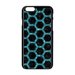 Hexagon2 Black Marble & Blue Green Water Apple Iphone 6/6s Black Enamel Case by trendistuff
