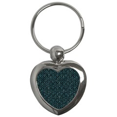 Hexagon1 Black Marble & Blue Green Water Key Chain (heart) by trendistuff