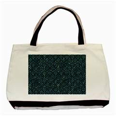 Hexagon1 Black Marble & Blue Green Water Basic Tote Bag (two Sides) by trendistuff