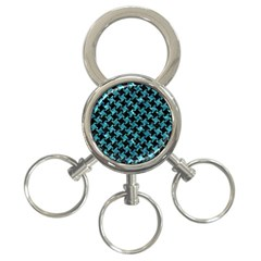Houndstooth2 Black Marble & Blue Green Water 3 Ring Key Chain by trendistuff