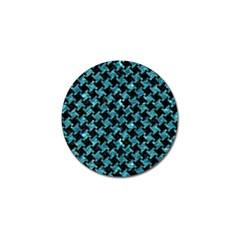 Houndstooth2 Black Marble & Blue Green Water Golf Ball Marker by trendistuff
