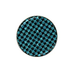 Houndstooth2 Black Marble & Blue Green Water Hat Clip Ball Marker (4 Pack) by trendistuff