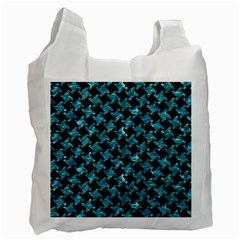 Houndstooth2 Black Marble & Blue Green Water Recycle Bag (one Side) by trendistuff