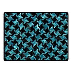 Houndstooth2 Black Marble & Blue Green Water Fleece Blanket (small) by trendistuff