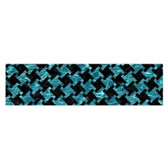 Houndstooth2 Black Marble & Blue Green Water Satin Scarf (oblong) by trendistuff