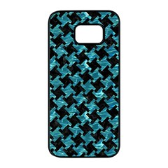 Houndstooth2 Black Marble & Blue Green Water Samsung Galaxy S7 Edge Black Seamless Case by trendistuff