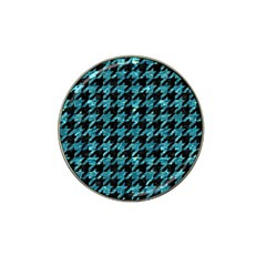 Houndstooth1 Black Marble & Blue Green Water Hat Clip Ball Marker (4 Pack) by trendistuff