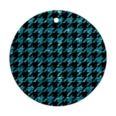 Houndstooth1 Black Marble & Blue Green Water Round Ornament (two Sides) by trendistuff