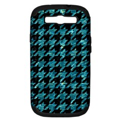 Houndstooth1 Black Marble & Blue Green Water Samsung Galaxy S Iii Hardshell Case (pc+silicone) by trendistuff