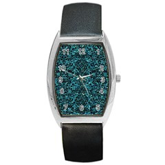 Damask2 Black Marble & Blue Green Water (r) Barrel Style Metal Watch by trendistuff