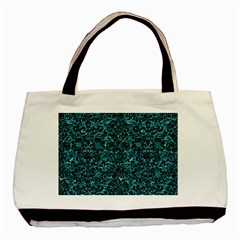 Damask2 Black Marble & Blue Green Water (r) Basic Tote Bag by trendistuff