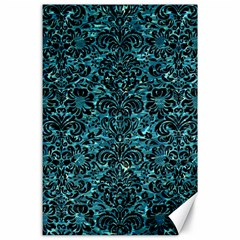 Damask2 Black Marble & Blue Green Water (r) Canvas 24  X 36  by trendistuff