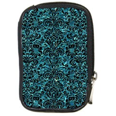 Damask2 Black Marble & Blue Green Water (r) Compact Camera Leather Case by trendistuff