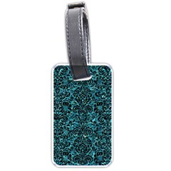 Damask2 Black Marble & Blue Green Water (r) Luggage Tag (two Sides) by trendistuff