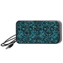 Damask2 Black Marble & Blue Green Water (r) Portable Speaker (black) by trendistuff