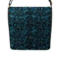 Damask2 Black Marble & Blue Green Water (r) Flap Closure Messenger Bag (l) by trendistuff