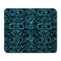 Damask2 Black Marble & Blue Green Water Large Mousepad by trendistuff