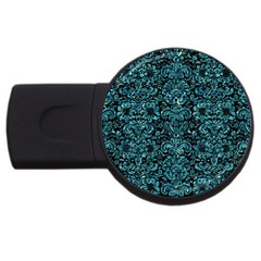 Damask2 Black Marble & Blue Green Water Usb Flash Drive Round (2 Gb) by trendistuff