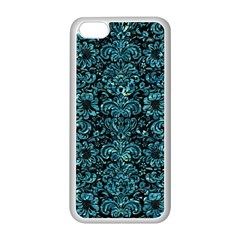 Damask2 Black Marble & Blue Green Water Apple Iphone 5c Seamless Case (white) by trendistuff