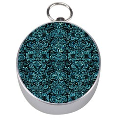 Damask2 Black Marble & Blue Green Water Silver Compass by trendistuff