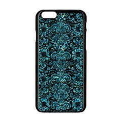 Damask2 Black Marble & Blue Green Water Apple Iphone 6/6s Black Enamel Case