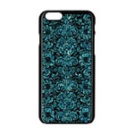 DAMASK2 BLACK MARBLE & BLUE-GREEN WATER Apple iPhone 6/6S Black Enamel Case Front