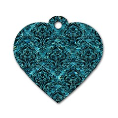 Damask1 Black Marble & Blue Green Water (r) Dog Tag Heart (one Side) by trendistuff