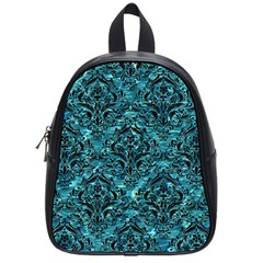 Damask1 Black Marble & Blue Green Water (r) School Bag (small) by trendistuff