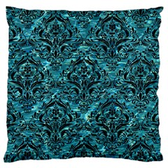 Damask1 Black Marble & Blue Green Water (r) Large Cushion Case (one Side) by trendistuff