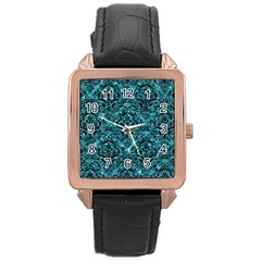 Damask1 Black Marble & Blue Green Water (r) Rose Gold Leather Watch  by trendistuff