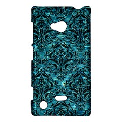Damask1 Black Marble & Blue Green Water (r) Nokia Lumia 720 Hardshell Case by trendistuff