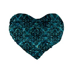 Damask1 Black Marble & Blue Green Water (r) Standard 16  Premium Flano Heart Shape Cushion  by trendistuff