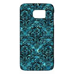 Damask1 Black Marble & Blue Green Water (r) Samsung Galaxy S6 Hardshell Case  by trendistuff