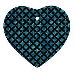 Circles3 Black Marble & Blue Green Water (r) Heart Ornament (two Sides) by trendistuff