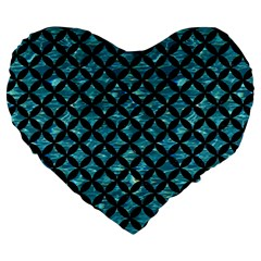 Circles3 Black Marble & Blue Green Water (r) Large 19  Premium Flano Heart Shape Cushion by trendistuff